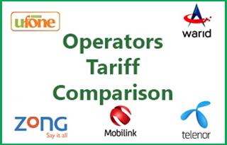 Operators Tariff Comparison
