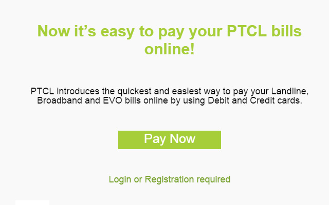 Now Pay Your PTCL Landline, Broadband & EVO Bills Online through Debit & Credit Cards