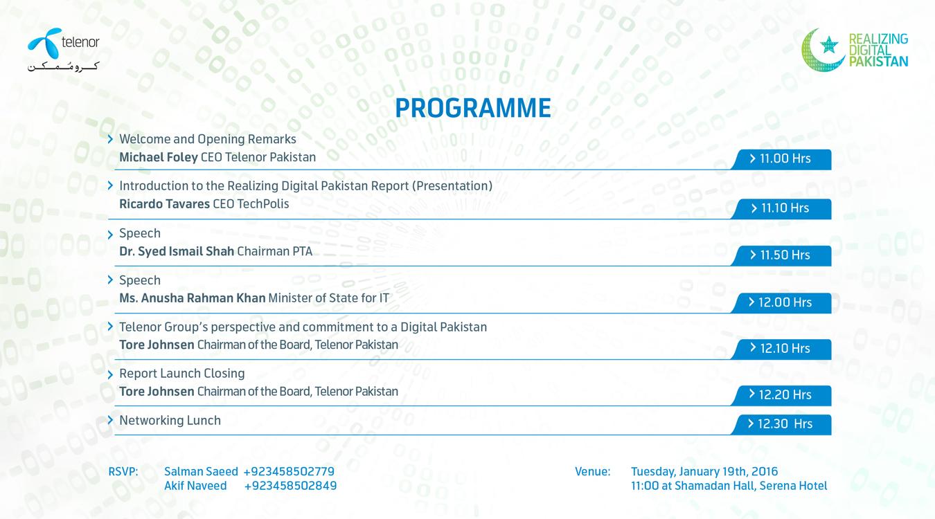 "Telenor Pakistan to Launch Report on ""Realizing Digital Pakistan"""