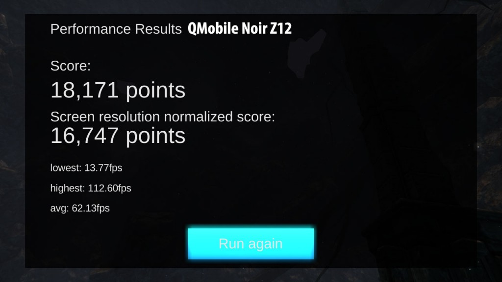 QMobile Noir Z12 GPU performance test