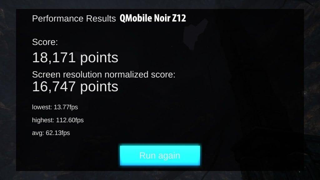 QMobile Noir Z12 GPU performance test