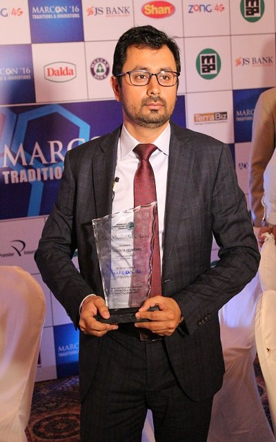 "CEO Haier Mobile Mr.Zeeshan Qureshi gets Awarded for ""EXCELLENCE"" at MARCON'16"